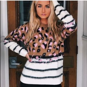 Fantastic Fawn Leopard and Stripe Sweater